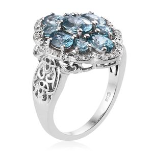 Cambodian Blue Zircon, Cambodian Zircon Ring in Platinum Over Sterling Silver (Size 8.0) 5.68 ctw