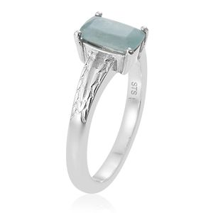 Grandidierite Split Solitare Ring in Platinum Over Sterling Silver (Size 10.0) 0.85 ctw