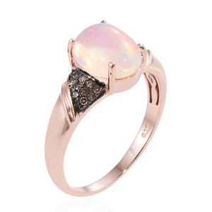 Ethiopian Welo Opal, Natural Champagne Diamond (0.16 ct) Ring in Vermeil RG Over Sterling Silver (Size 8.0) 2.36 ctw