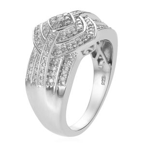 Diamond Ring in Platinum Over Sterling Silver (Size 8.0) 0.50 ctw