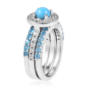Set of 3 Arizona Sleeping Beauty Turquoise, Multi Gemstone Ring in Sterling Silver (Size 10) 1.74 ctw