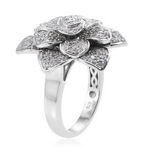 Vegas Show Diamond Rose Ring in Platinum Over Sterling Silver (Size 7.0) 1.00 ctw