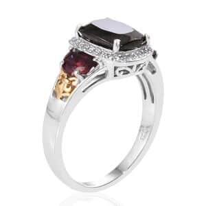 Shungite, Multi Gemstone Ring in Vermeil YG & Platinum Over Sterling Silver (Size 6.0) 3.63 ctw
