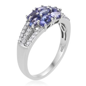 Tanzanite, Cambodian Zircon Ring in Platinum Over Sterling Silver (Size 5.0) 2.25 ctw