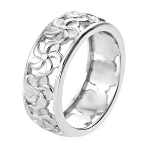 Platinum Over Sterling Silver Ring (Size 10.0)