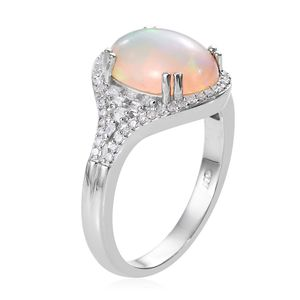 Ethiopian Welo Opal, Diamond (0.36 ct) Ring in Platinum Over Sterling Silver (Size 8.0) 3.51 ctw