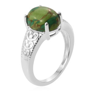 Mojave Green Turquoise Ring in Sterling Silver (Size 10.0) 2.75 ctw