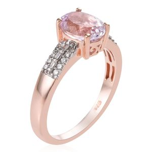 AA Premium Martha Rocha Kunzite, Diamond (0.20 ct) Ring in Vermeil RG Over Sterling Silver (Size 7.0) 2.70 ctw