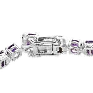 Lusaka Amethyst Tennis Bracelet in Platinum Over Sterling Silver (6.50 In) 11.00 ctw