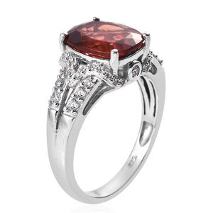 Red Andesine, Zircon Ring in Platinum Over Sterling Silver (Size 6.0) 3.62 ctw