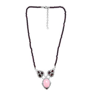 Peruvian Pink Opal, Multi Gemstone Necklace in Black Oxidized Sterling Silver (18 in) 92.19 ctw