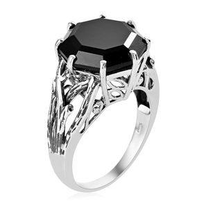 Thai Black Spinel Ring in Platinum Over Sterling Silver (Size 10.0) 19.60 ctw