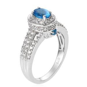 Malgache Neon Apatite, Zircon Ring in Platinum Over Sterling Silver (Size 5.0) 2.35 ctw