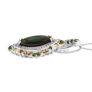Canadian Ammolite, Multi Gemstone Pendant Necklace (20 in) in Vermeil YG & Platinum Over Sterling Silver 3.01 ctw
