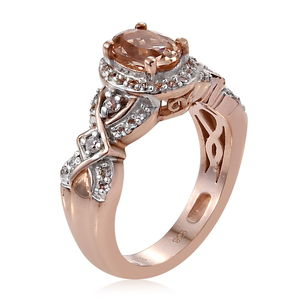 AA Premium Marropino Morganite, Zircon Ring in Vermeil RG Over Sterling Silver (Size 5.0) 1.26 ctw