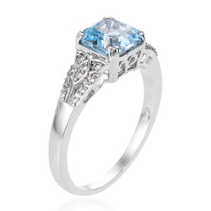 Asscher Cut Sky Blue Topaz, Zircon Ring in Platinum Over Sterling Silver (Size 5.0) 3.20 ctw