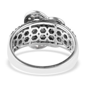 Thai Black Spinel, White Zircon Butterfly Buckle Ring in Black Rhodium & Sterling Silver (Size 9.0) 1.20 ctw