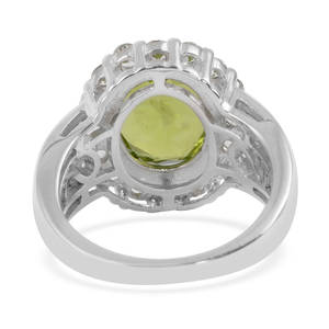 Hebei Peridot, White Topaz Ring in Platinum Over Sterling Silver (Size 10.0) 6.51 ctw