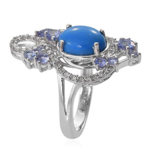 Ceruleite, Multi Gemstone Ring in Platinum Over Sterling Silver (Size 7.0) 3.54 ctw