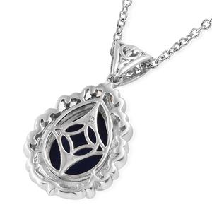 KARIS Lapis Lazuli Pendant Necklace (20 in) in ION Plated 18K YG & Platinum Bond Brass and Stainless Steel 7.15 ctw