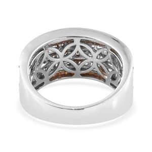 Mozambique Garnet, Cambodian Zircon Ring in Rhodium & Platinum Over Sterling Silver (Size 8.0) 2.15 ctw