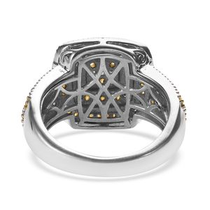 Natural Yellow Diamond Ring in Yellow Rhodium & Platinum Over Sterling Silver (Size 5.0) 0.75 ctw