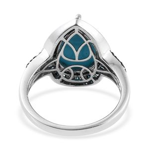 Arizona Sleeping Beauty Turquoise, Blue Diamond (IR) Ring in Blue Rhodium & Platinum Over Sterling Silver (Size 5.0) 5.40 ctw