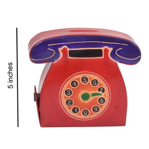 Red Leather Hand Painted Telephone Shape Money Bank (5 in)