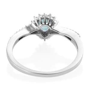 Grandidierite, Cambodian Zircon Ring in Platinum Over Sterling Silver (Size 7.0) 1.10 ctw