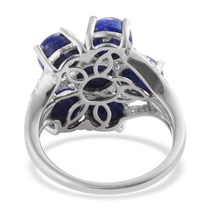Lapis Lazuli, Cambodian Zircon Ring in Platinum Over Sterling Silver (Size 7.0) 10.59 ctw