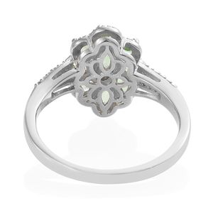 Mint Garnet, Cambodian Zircon Split Ring in Platinum Over Sterling Silver (Size 9.0) 1.45 ctw