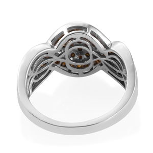Red Diamond (IR) Ring in Rhodium & Platinum Over Sterling Silver (Size 8.0) 1.00 ctw