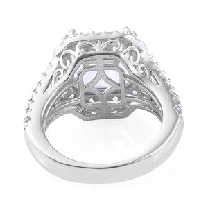 Asscher Cut White Topaz Ring in Platinum Over Sterling Silver (Size 6.0) 7.20 ctw