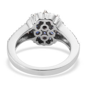 Burmese Blue Sapphire, Cambodian Zircon Floral Split Ring in Platinum Over Sterling Silver (Size 5.0) 1.26 ctw