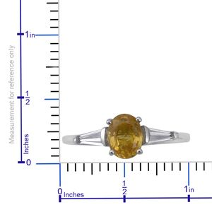 Yellow Sapphire, White Topaz Ring in Platinum Over Sterling Silver (Size 9.0) 2.05 ctw