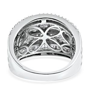 LUSTRO STELLA CZ Concave Ring in Sterling Silver (Size 5.0) 6.79 ctw