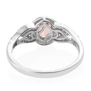 Ceylon Imperial Garnet, Cambodian Zircon Ring in Platinum Over Sterling Silver (Size 7.0) 2.02 ctw