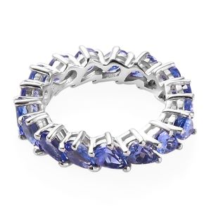 Tanzanite Eternity Band Ring in Platinum Over Sterling Silver (Size 5.0) 3.60 ctw