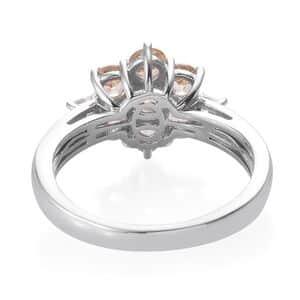 Ceylon Imperial Garnet, Cambodian Zircon Ring in Platinum Over Sterling Silver (Size 5.0) 2.50 ctw