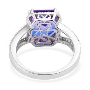 Midnight Fuchsia Quartz, Cambodian Zircon Ring in Platinum Over Sterling Silver (Size 11.0) 8.20 ctw