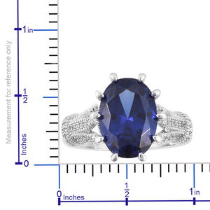 Tanzanite Color Glass, White CZ Ring in Silvertone (Size 11.0) 6.51 ctw