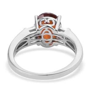 AAA Premium Ratnapura Hessonite Garnet, Cambodian Zircon Ring in Platinum Over Sterling Silver (Size 8.0) 4.75 ctw