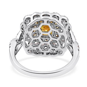 LUSTRO STELLA Yellow and White CZ Ring in Two-Tone Plating Sterling Silver (Size 10.0) 2.94 ctw
