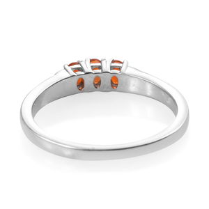 Crimson Fire Opal, Coffee Zircon Ring in Platinum Over Sterling Silver (Size 5.0) 0.35 ctw