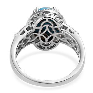 Persian Turquoise, White Topaz Ring in Platinum Over Sterling Silver (Size 6.0) 7.05 ctw