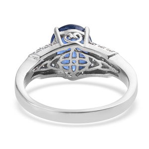 Kashmir Kyanite, Cambodian Zircon Ring in Platinum Over Sterling Silver (Size 7.0) 4.80 ctw