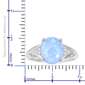 Simulated Blue Opal, White CZ Ring in Sterling Silver (Size 11.0) 4.63 ctw