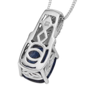 Kashmir Kyanite, Cambodian Zircon Pendant Necklace (20 in) in Platinum Over Sterling Silver 3.90 ctw