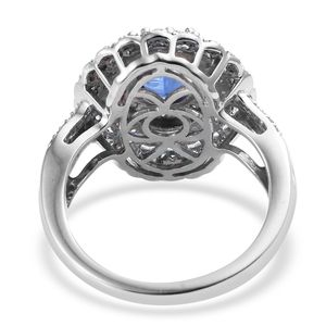 Kashmir Kyanite, Cambodian Zircon Ring in Platinum Over Sterling Silver (Size 7.0) 3.50 ctw