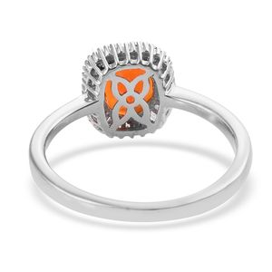 Crimson Fire Opal, Diamond (0.25 ct) Halo Ring in Platinum Over Sterling Silver (Size 8.0) 1.55 ctw